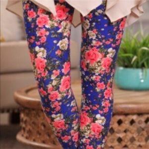 Blue Pink Floral Leggings